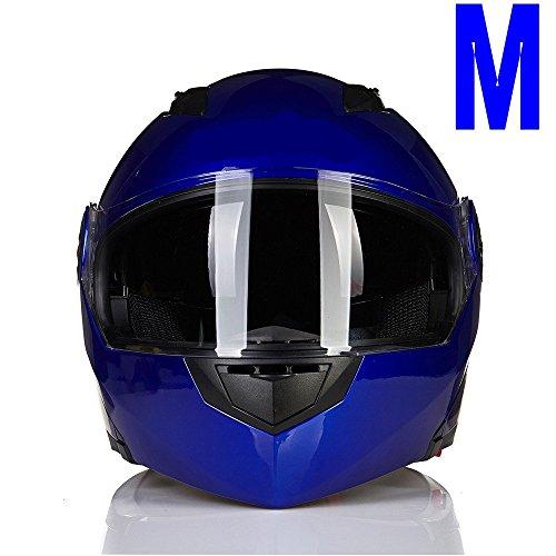 Blau Kühle Double Face Spiegel Motorrad E-Bike Full Face Klapphelm Sonnenblende M