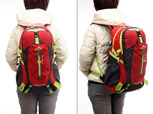 Outdoor-Bergsteigen Tasche Rucksack große Tasche für Männer und Frauen 50L Mehrzweck wasserdichten Rucksack Wanderrucksack Red