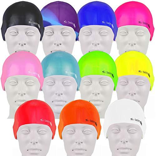 Swimelite cuffia da nuoto per adulti e bambini, in silicone, senza cuciture - seamless silicone swimming cap for adults and junior - training and racing (vivid pink)