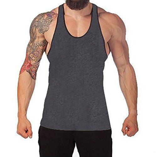 Juleya Bodybuilding Tank Top Uomo Stringer Fitness Singlet Camicia senza maniche Grigio scuro/Nero