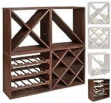 ts-ideen scaffalatura cubica per bottiglie di vino, impilabile, colore: marrone scuro, Legno, Dunkelbraun, Weinregal 3er