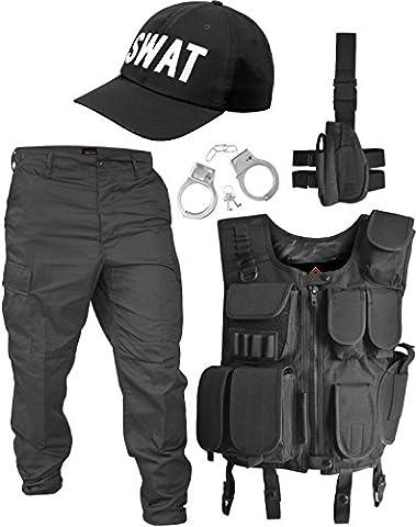SWAT Kostüm bestehend aus Weste, Hose, Pistolenholster, Cap und Handschellen Größe L