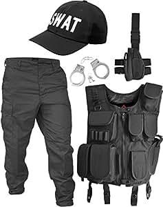 SWAT Kostüm bestehend aus Weste, Hose, Pistolenholster, Cap und Handschellen Größe M