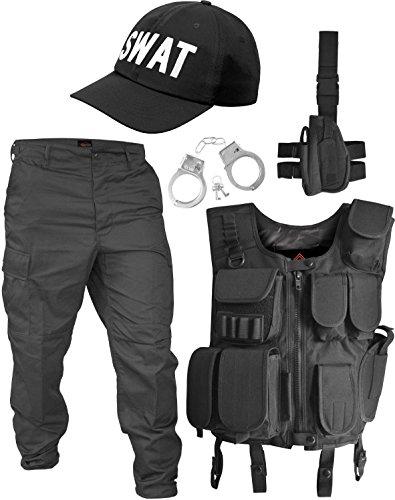 SWAT Kostüm bestehend aus Weste, Hose, Pistolenholster, Cap und Handschellen Größe S (Handschellen Hosen)