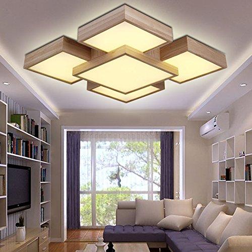 GQLB Le camere da letto luce 48W log soggiorno coreano di luce-camera da letto in stile soffitto in legno luce 3 (550*550*140mm), ombra