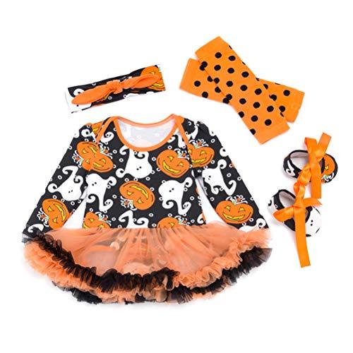 Amosfun 4 stücke Baby Halloween kürbis Geist Cosplay kostüm Set Halloween Tutu Rock Baby Stirnband socken halskette-80 cm (orange)