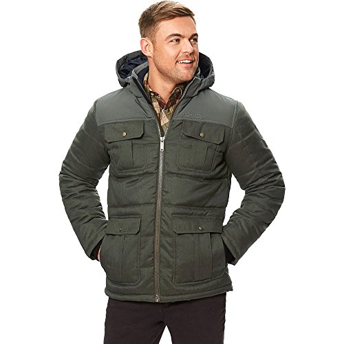Regatta Men's Arnault Water Repellent Thermoguard Insulated Wool Look Hooded Jacket, Dark Khaki, 2X-Large