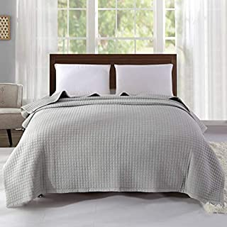 Alicemall 100% Cotton Bedspread Grey Super Soft Warm Quilted Bedspread Living Room Bed Sheet Sofa Blanket 78