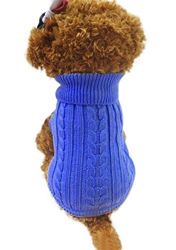 BXT Winter Haustier Pullover Bekleidung Hunde Katze Kleine Hundchen Teddy Sweater Rollkragenpulli Strickpulli Rollkragen Warme Winterkleidung (Rot/Dunkelblau/Kaffeebraun, (Kostüm Frau Starke 50)