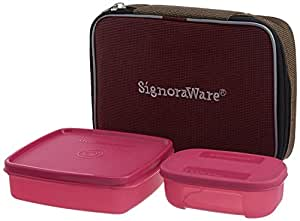 Signoraware Twin Smart Plastic Lunch Box with Bag, Pink