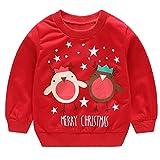 POLP Niño Regalo Navidad Bebe Pijama Rojo Navidad Bebe Disfraz Ropa Invierno Bebe niña Unisex Manga Larga Camiseta de Elk suéter Top Reno 12meses-4años