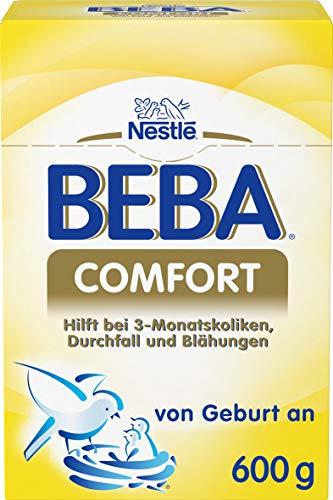 Nestlé Beba Comfort Spezialnahrung, bei 3-Monatskoliken, Durchfall und Blähungen, Anfangsmilch, alleinige Säuglingsnahrung, von Geburt an, 1er Pack (1 x 600 g)