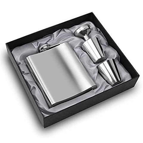 Firlar 7 oz 304 (18/8) Stainless Steel Hip Flask Funnel Gift Set Vodka Whisky with Mini Funnel - Leak Proof - Includes Funnel and Gift Bottle