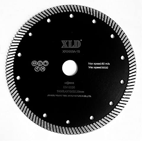 Saw Blades XLD Hot-pressed Turbo Diamond Saw Blade, Grade A, 7 Inch, For Cutting Granite Marble Concrete Brick And So On,Super Sharp ,High Quality By XLDTOOL ( Size : 180*2.4*7*22.23mm