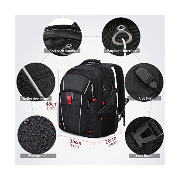 51%2Bmlb YtaL. SS600  - Mochila Portátil Hombre 17.3 Pulgadas Puerto USB Impermeable Trabajo Ordenador Viaje Negocio Multifuncional Daypacks Negro