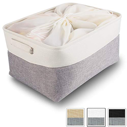 Mangata aufbewahrungsbox Stoff, aufbewahrungsbox groß grau, Korb Stoff aufbewahrung mit Griffen für Schrank, Spielzeug, kleiderschrank, Regale, Kleidung (faltbar, extra groß, Weiß)