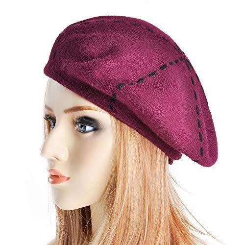 Weiblich Kostüm Frankreich - ZLYC Damen Reversible Doppelschicht Frankreich Barett Mütze Hut (Weinrot)