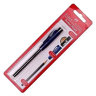 Faber Castell Perfect Pencil con goma de borrar construido en cuchillo (extensor y pantalla), color azul marino