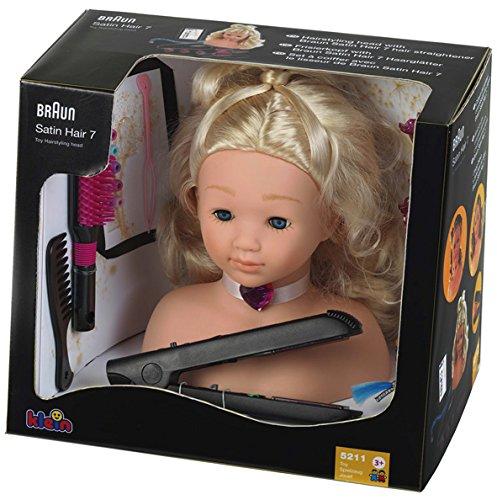 Theo Klein 5245 - Frisierkopf mit Braun Satin Hair 7 Haarglätter, Spielzeug