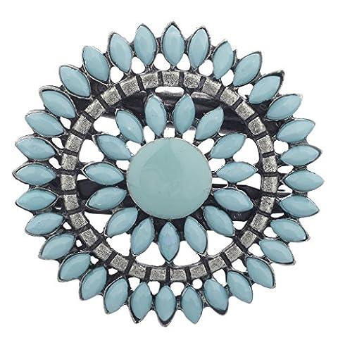 Lux Accessories Southwestern Boho Burnish Silver Turq Flower Floral Brooch