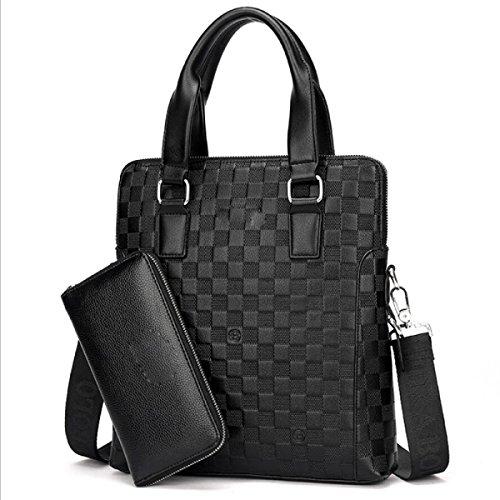 BUKUANG Geprägte Gitterhandtasche Männer Schulter Geschäft Aktenkoffer Paket Horizontale Absatz Messenger Tasche Computer Tasche,Brown2 Black2