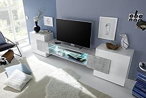 Arredocasagmb.it Mobile Porta TV Moderno Bianco Lucido Effetto Cemento Soggiorno Inserto by arredocasagmb.it