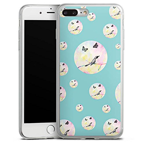 Apple iPhone 8 Slim Case Silikon Hülle Schutzhülle Vogel Schmetterling Muster Silikon Slim Case transparent
