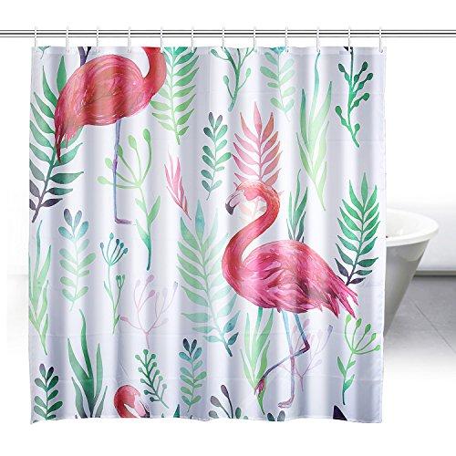 ZeWoo Flamingos Duschvorhang aus Stoff mit 12 Duschvorhangringe | wasserdichter Duschvorhang mit verstärktem Saum | waschbarer Textil Duschvorhang in der Größe 180x180cm (Flamingo 2) (Gebogenen Saum)