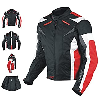A-Pro Motorcycle Jacket CE Armored Textile Motorbike Racing Thermal Liner Red L