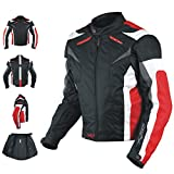 Giacca a Pro Motorcycle Ce Armored Textile Motor Bike Racing Thermal Liner Nero e rosso, L