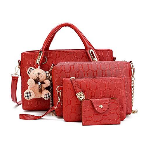 Fyyzg Mode Handtaschen Trend Casual Bär vierteiliges Set Schulter geschlungen - weiß