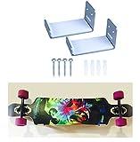 Porte Ski Support Mural Ski Etagère Fixation Mural Ski Une Paire en Aluminium avec Doublure Protection pour Snowboard/Surfboard/Wakeboard/Kiteboard/Longboard/Skateboard/Skimboard