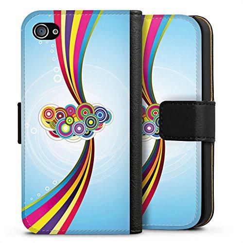 Apple iPhone X Silikon Hülle Case Schutzhülle Schnörkel Regenbogen Muster Sideflip Tasche schwarz