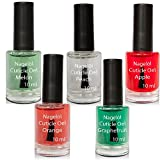 Olio per unghie in una bottiglia di pennello Set N°2, Melon, Peach, Apple, Orange, Grapefruit 5x10 ml