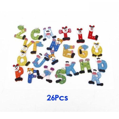 SODIAL(R)Imanes de madera de alfabeto de 26 letras para Refrigerador Decoracion de...