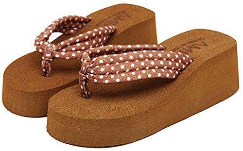 Minetom Donna Flip Flops Dot Stampa Piattaforma Sandali Slim Infradito e ciabatte da spiaggia Marrone