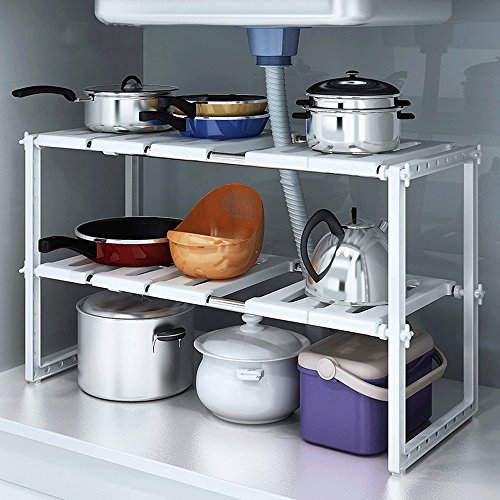 Simple y elegante Desmontable Estante de almacenamiento Multipropósito Nivel de altura Ajustable Display Rack Estantería independiente para la cocina 2 niveles (W) 39 a 66 (D) * D26 * (H) 38cm ( Color : Ivory white )