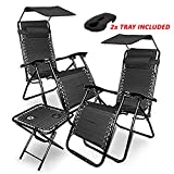C&S 3 Piece - Two Zero Gravity Chairs With Side Tray/Sun Visor