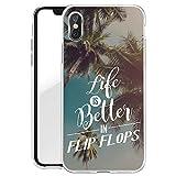 Finoo Iphone X Hard Case Handy-Hülle mit Motiv | dünne stoßfeste Schutz-Cover Tasche in Premium Qualität | Premium Case für Dein Smartphone| Life is better in Flip Flops