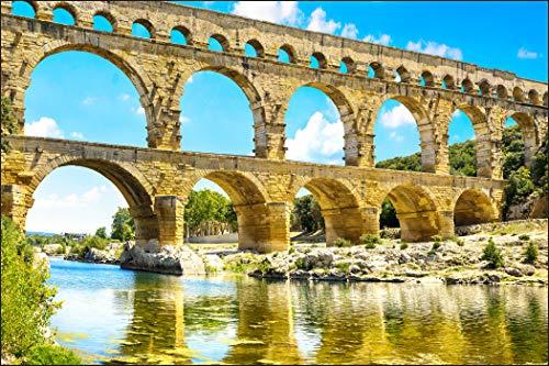 Muralo Fototapete Römisches Aquädukt Pont du Gard 90x135 Vlies Infrastruktur Landschaft dreidimensional - 193173524 -