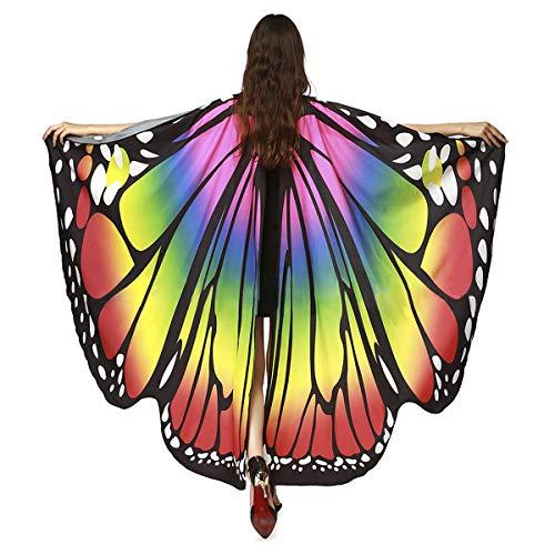 JIAHG Damen Schmetterling Kostüm Faschingkostüme Schmetterling Schal Flügel Umhang Poncho Erwachsene Schmetterlingsflügel Umhang für Party Halloween Weihnachten Kostüm Cosplay Karneval Fasching (Weihnachten Kostüm Für Erwachsene)