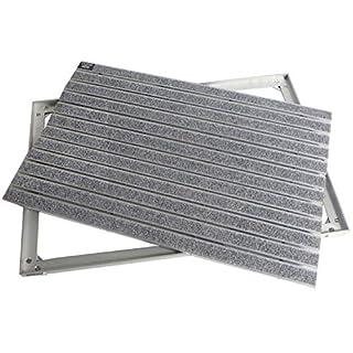 EMCO Eingangsmatte DIPLOMAT Rips hellgrau 10mm + ALU Rahmen Fußmatte Türmatte Schuhabstreifer, Größe:750 x 500 mm