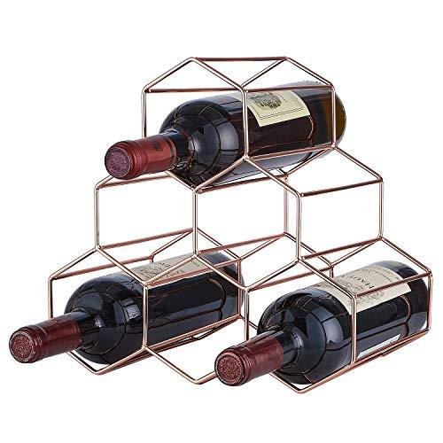 DEFWAY Weinhalter Weinregal 6 Flaschen - Weinflaschenhalter Bienenstock Tischplatte Metall Eisen Dekorative Wein Flasche Halter Ständer Freistehend Raum für Bar Küche(Rosegold)