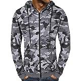 Zolimx Kapuzenpullover für Herren, Männer Herbst Camouflage Zipper Hooded Sweatshirt Jacke Outwear Mantel Tops Bluse