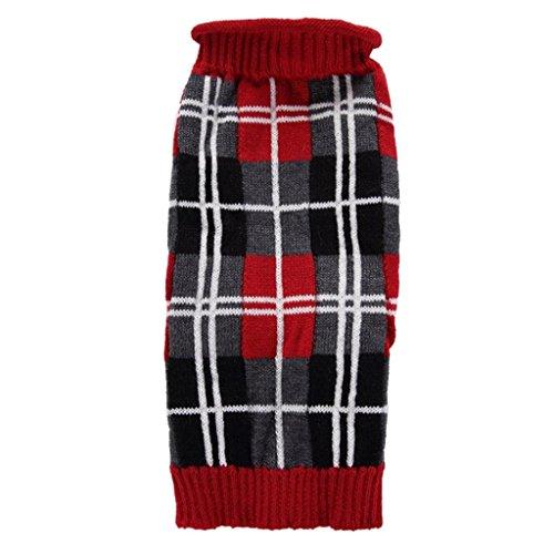 Haustier Kleidung erthome Roter karierter Haustier gestrickter Pullover warme Strickjacke Welpen Kostüm (XS, Rot) (Plaid-luxus-kleid-shirt)
