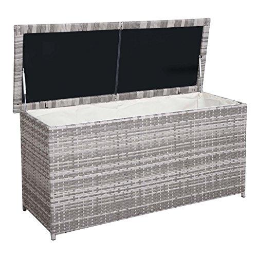 Mendler Poly-Rattan Kissenbox HWC-D43, Truhe Auflagenbox Gartentruhe, 63x135x52cm 290l ~ grau