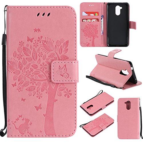 kelman Hülle für Huawei Honor 7i / Huawei ShotX Hülle Schutzhülle PU Leder + Soft Silikon TPU Innere Schale Mode Prägung Brieftasche Flip Halterung Handyhülle - [KT03 - Rosa]