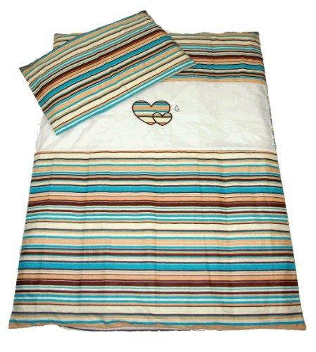 Baby 's Comfort Baby Bettwäsche Set Bettbezug und Kissenbezüge (2-teilig, Schokolade Streifen/Weiß) (Schokolade Braun Bettbezug)