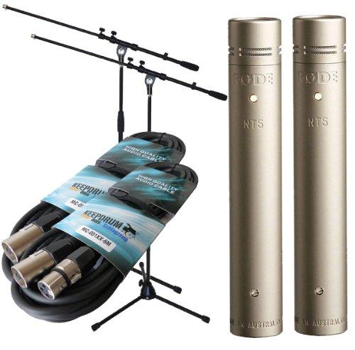 Rode nt5mp coppia stereo microfono set include 2x keep drum microfono treppiede + 2x cavo xlr