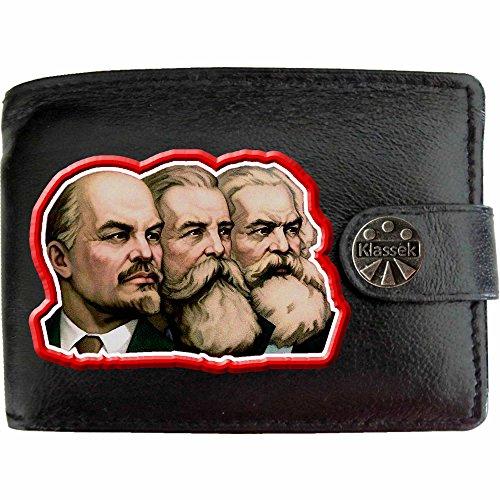 Russischen Kommunismus (Lenin Engels Marx Klassek Herren Geldbörse Portemonnaie Brieftasche Russischen Kommunismus sozialistischen aus echtem Leder schwarz Geschenk Präsent mit Metall Box)